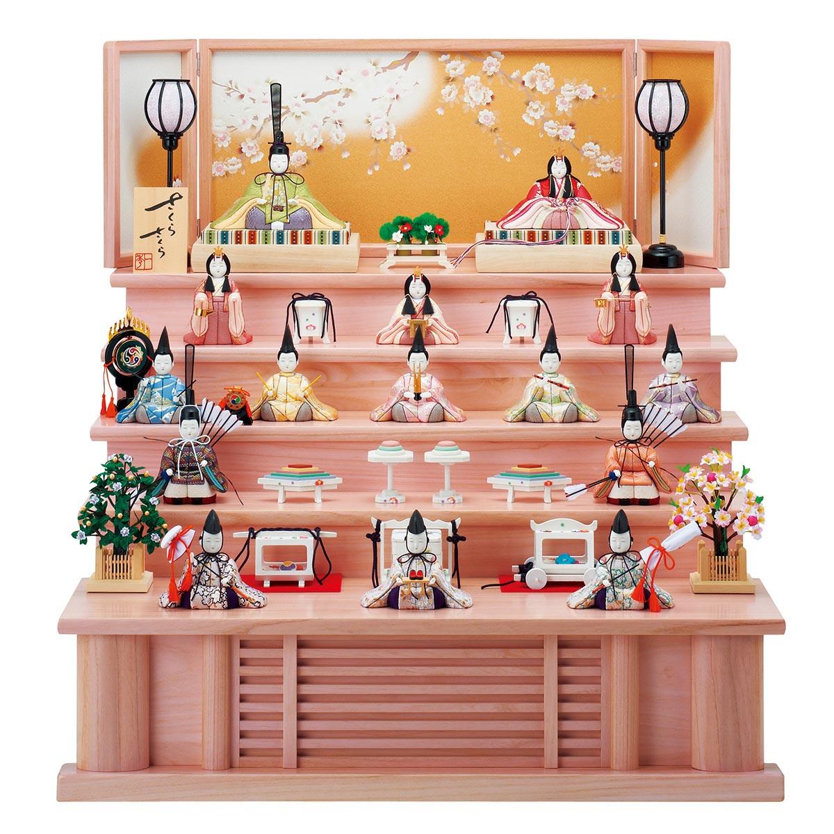 雛人形 一秀 コンパクト 木目込み飾り さくらさくら 十五人飾り 220号 五段セット LEDコードレス雪洞付 雛人形 HNIS-C-108ひな人形 かわいい おしゃれ インテリア 雛 木目込人形飾り [P20]