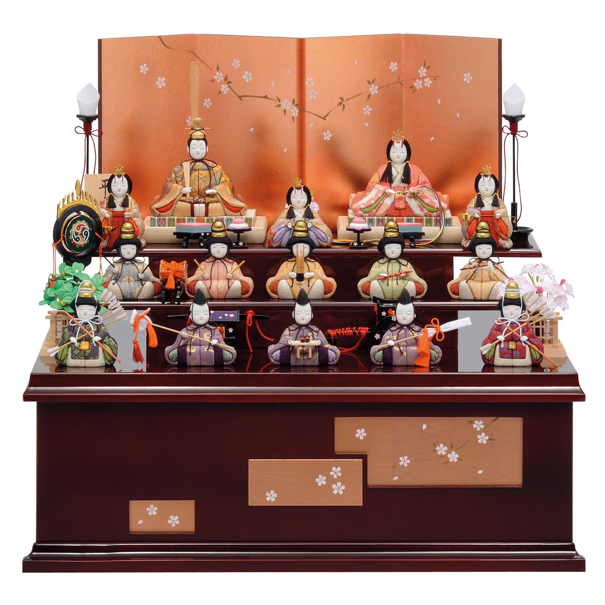 雛人形 一秀 コンパクト 木目込み飾り 十五人飾り 平安雛 14-1号 桐収納飾り 雛人形 HNIS-D-19ひな人形 かわいい おしゃれ インテリア 雛 木目込人形飾り [P20]