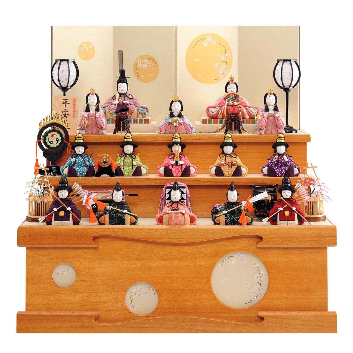 雛人形 一秀 コンパクト 木目込み飾り 十五人飾り 平安雛 14-5号 桐収納セット 収納飾り 雛人形 HNIS-D-13ひな人形 かわいい おしゃれ インテリア 雛 木目込人形飾り [P20]