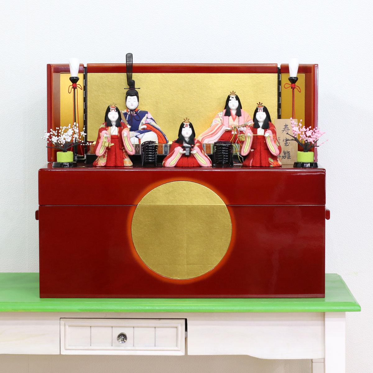 雛人形 真多呂 コンパクト 木目込み飾り 真多呂作 寿宝雛 五人揃い 収納飾り 雛人形 HNM-MTR-SH-01ひな人形 かわいい おしゃれ インテリア 雛 木目込人形飾り