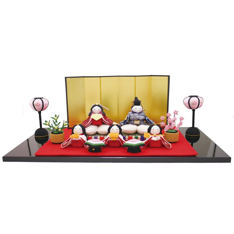 雛人形 リュウコドウ コンパクト ちりめん雛 ちりめん雛人形 桜雛5人揃い 雛人形 HNRK-1-710ひな人形 かわいい おしゃれ インテリア 雛 ひな人形 小さい ミニ [P10]