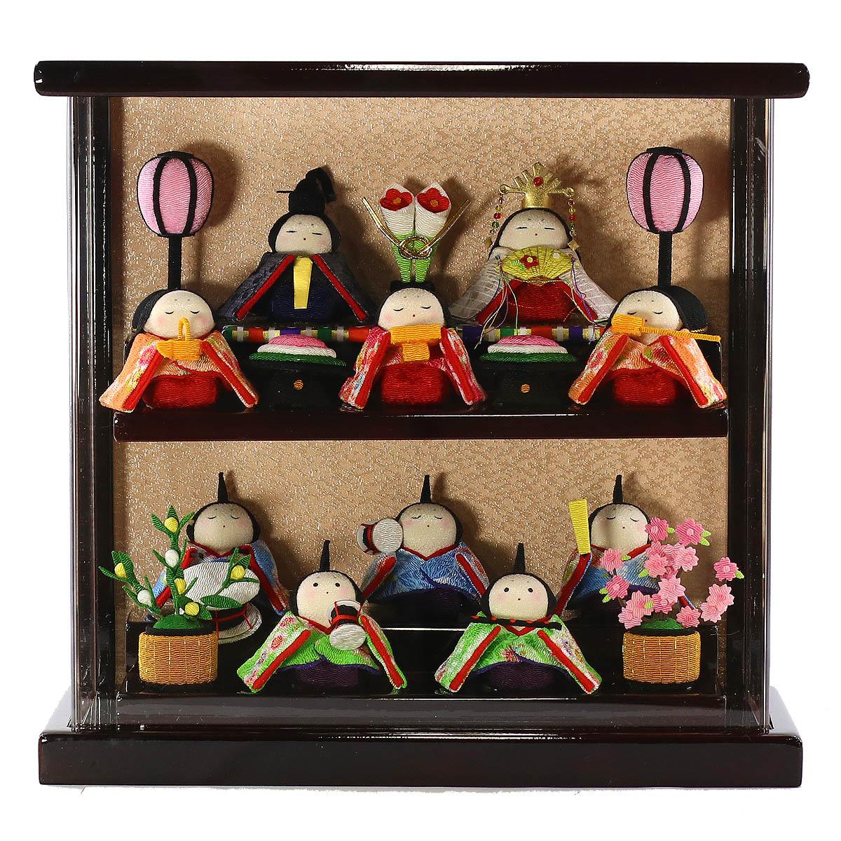 雛人形 リュウコドウ コンパクト ちりめん雛 わらべ雛 10人揃い 溜塗りアクリルケース飾り 雛人形 HNRK-303-10 (1-344)ひな人形 かわいい おしゃれ インテリア 雛 ひな人形 小さい ミニ