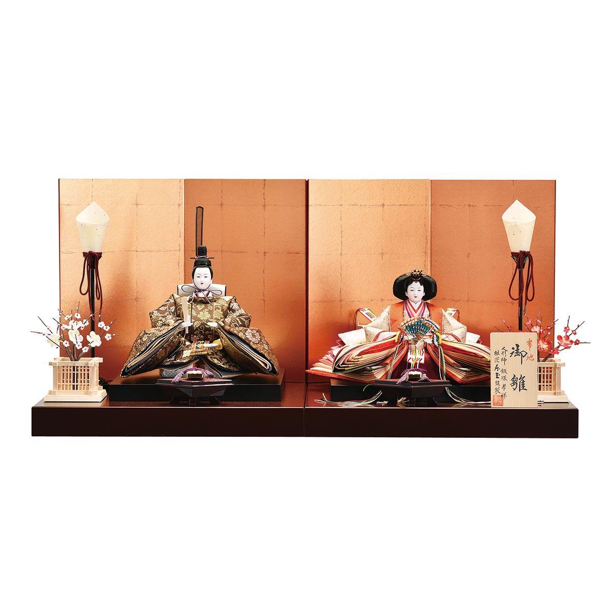 雛人形 東玉 コンパクト 親王飾り 孝祥作 帯地 親王飾り 雛人形 HNTG-32956ひな人形 かわいい 雛 親王飾り 平飾り [P10]
