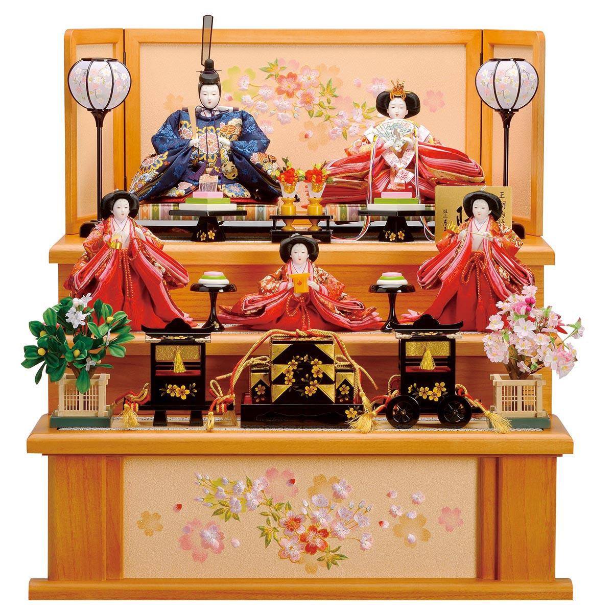 雛人形 東玉 コンパクト 三段飾り 一、二の三段 春雛 雛人形 HNTG-35908ひな人形 かわいい おしゃれ インテリア 雛 三段飾り 3段 [P10]