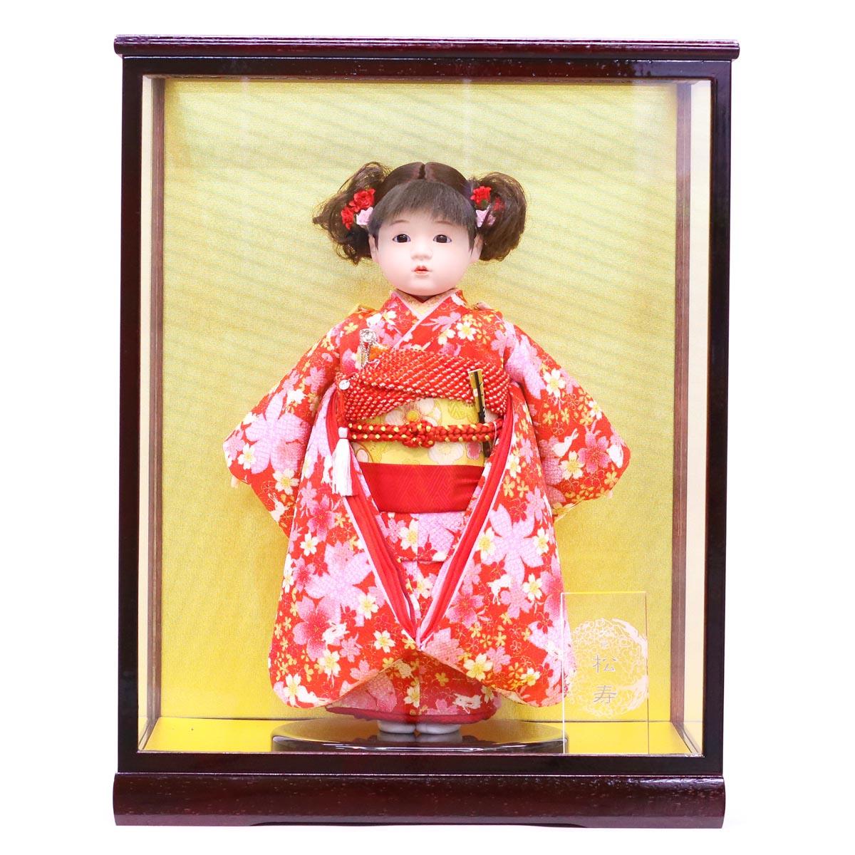 雛人形 松寿 コンパクト 市松人形 松寿作 市松人形 特選友禅 赤 桜にうさぎ ケース入り (HB45) 市松 ICMY-BA16008-24-C (HB45)ひな人形 かわいい おしゃれ インテリア ひな人形 小さい ミニ