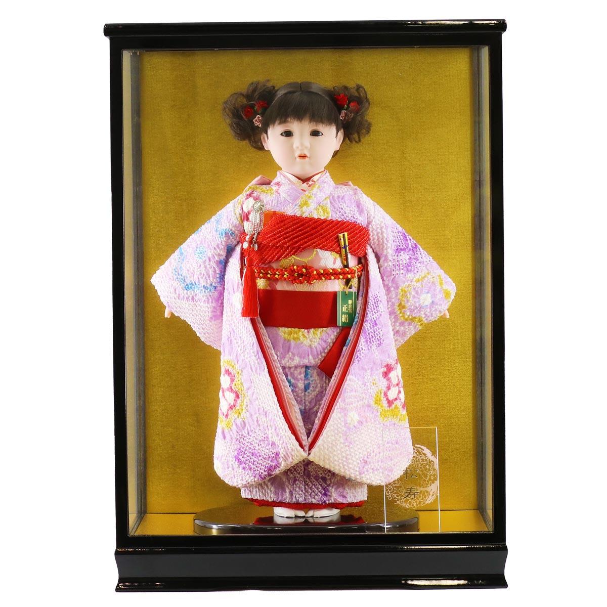 雛人形 松寿 コンパクト 市松人形 松寿作 市松人形 正絹変わり絞り 紫花 ケース入り (HB9) 市松 ICMY-BA28045-05-C (HB9)ひな人形 かわいい おしゃれ インテリア ひな人形 小さい ミニ