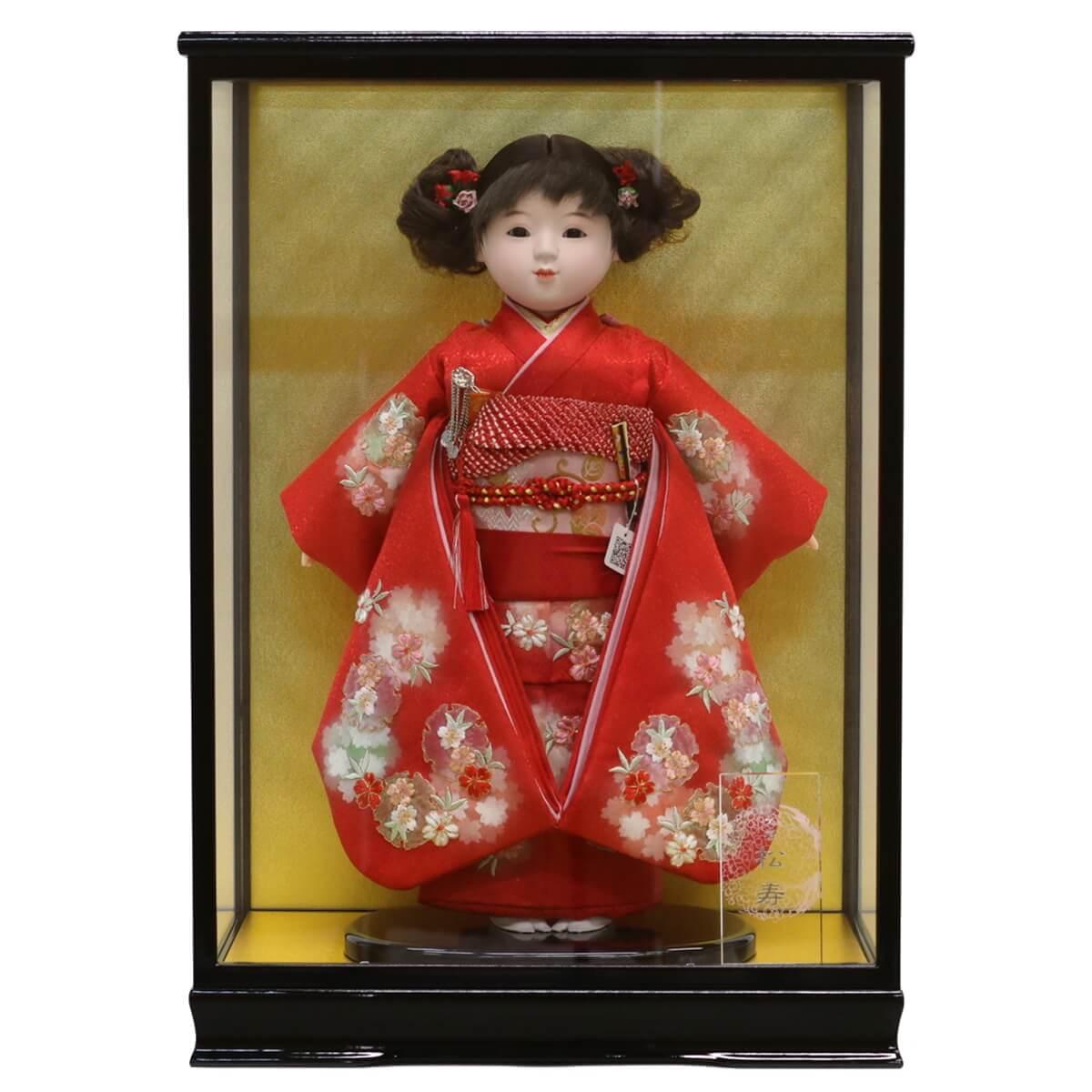 雛人形 松寿 コンパクト 市松人形 松寿作 市松人形 切嵌京刺繍 ケース入り (HB9) 市松 ICMY-BC12-43-C (HB9)ひな人形 かわいい おしゃれ インテリア ひな人形 小さい ミニ