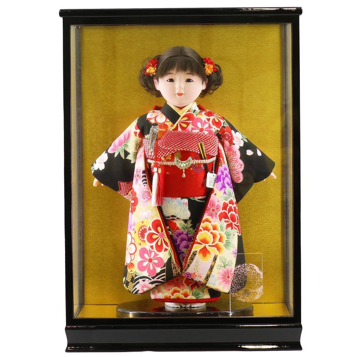 雛人形 松寿 コンパクト 市松人形 松寿作 市松人形 京友禅 黒 ケース入り (HB9) 市松 ICMY-BC26017-42-C (HB9)ひな人形 かわいい おしゃれ インテリア ひな人形 小さい ミニ