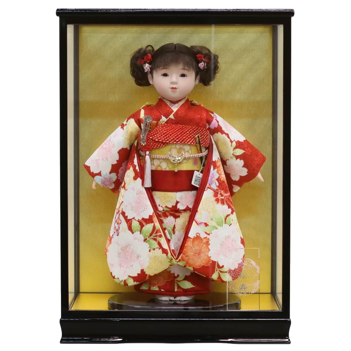 雛人形 松寿 コンパクト 市松人形 松寿作 市松人形 京友禅 桜 鞠 ケース入り (HB9) 市松 ICMY-BC26017-48G-C (HB9)ひな人形 かわいい おしゃれ インテリア ひな人形 小さい ミニ