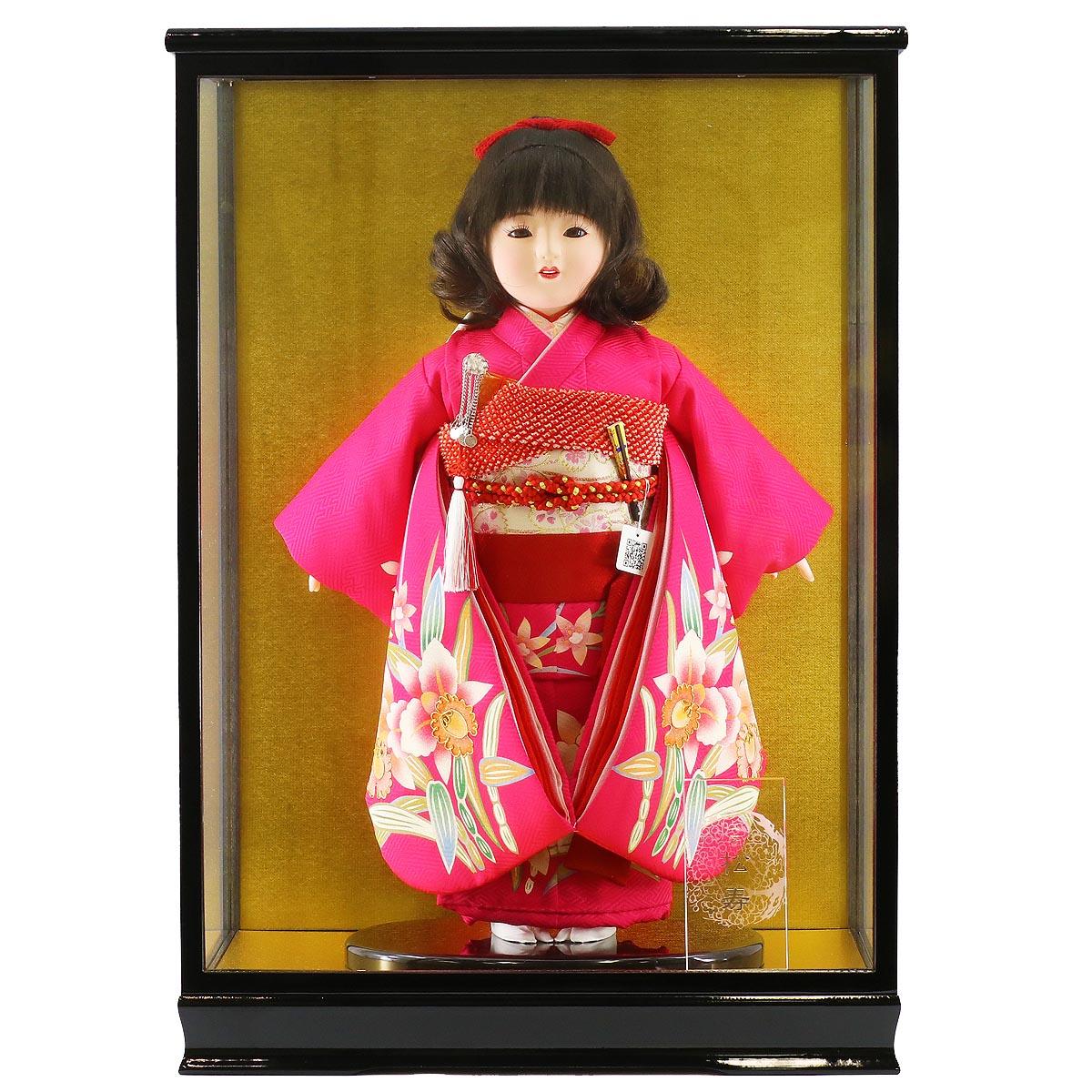 雛人形 松寿 コンパクト 市松人形 松寿作 市松人形 金彩京友禅 カトレア ケース入り (HB9) 市松 ICMY-RE12-44-C (HB9)ひな人形 かわいい おしゃれ インテリア ひな人形 小さい ミニ