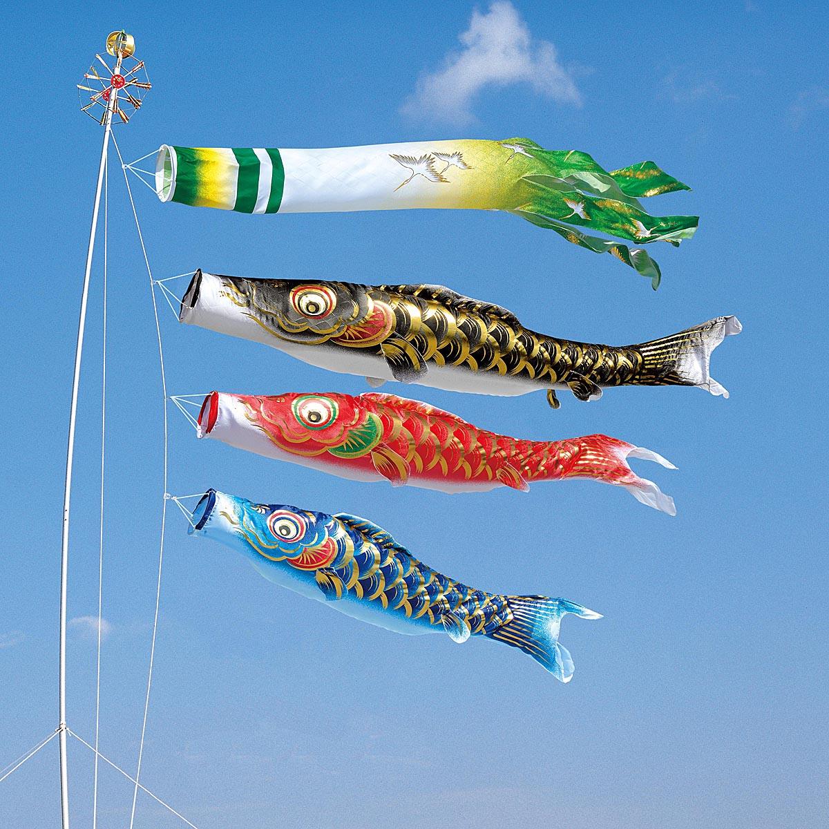 こいのぼり 庭用 凛風 4m 6点 (矢車、ロープ、吹流し、鯉3匹) マイホーム庭園用セット ダイヤ鯉 KOD-MY-734370