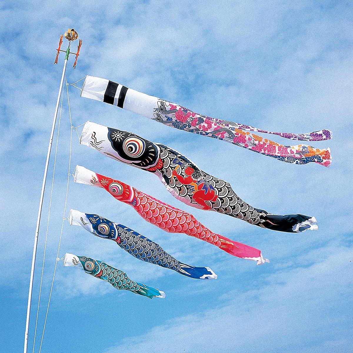 こいのぼり 庭用 スパークル金太郎鯉 4m 7点 (矢車、ロープ、吹流し、鯉4匹) 大型/ポール別売り ダイヤ鯉 KOD-O-734095