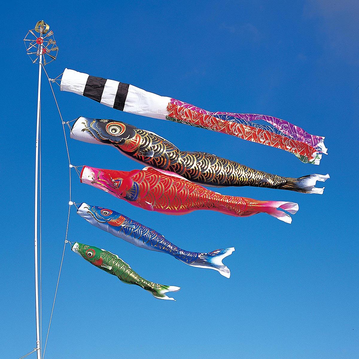 こいのぼり 庭用 煌鯉 3m 7点 (矢車、ロープ、吹流し、鯉3匹) 大型/ポール別売り ダイヤ鯉 KOD-O-734263
