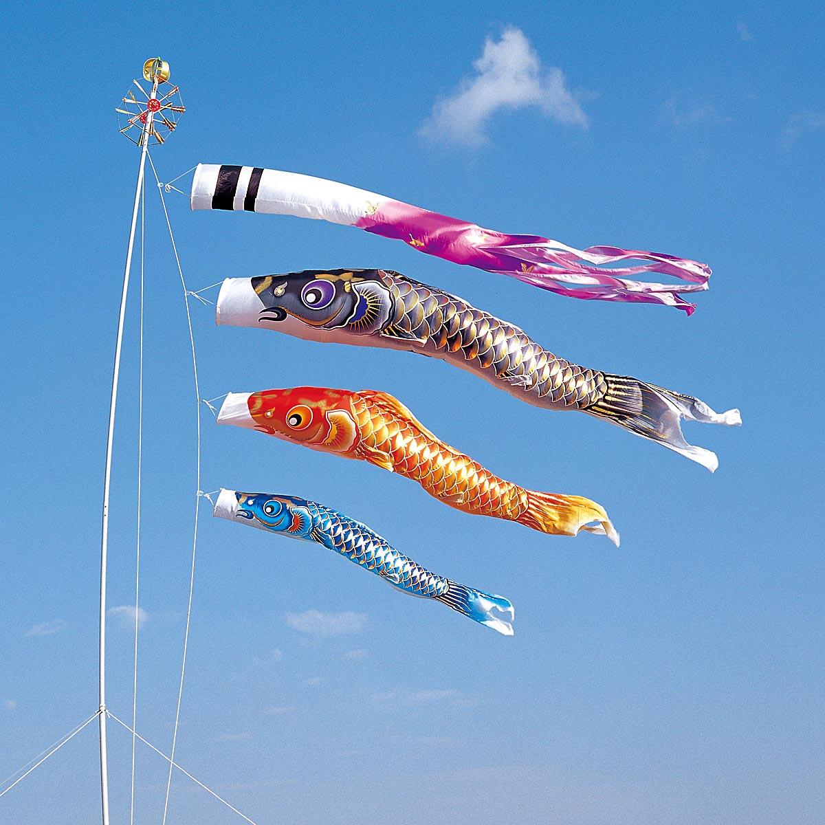 こいのぼり 庭用 空鯉 5m 6点 (矢車、ロープ、吹流し、鯉3匹) 大型/ポール別売り ダイヤ鯉 KOD-O-734276