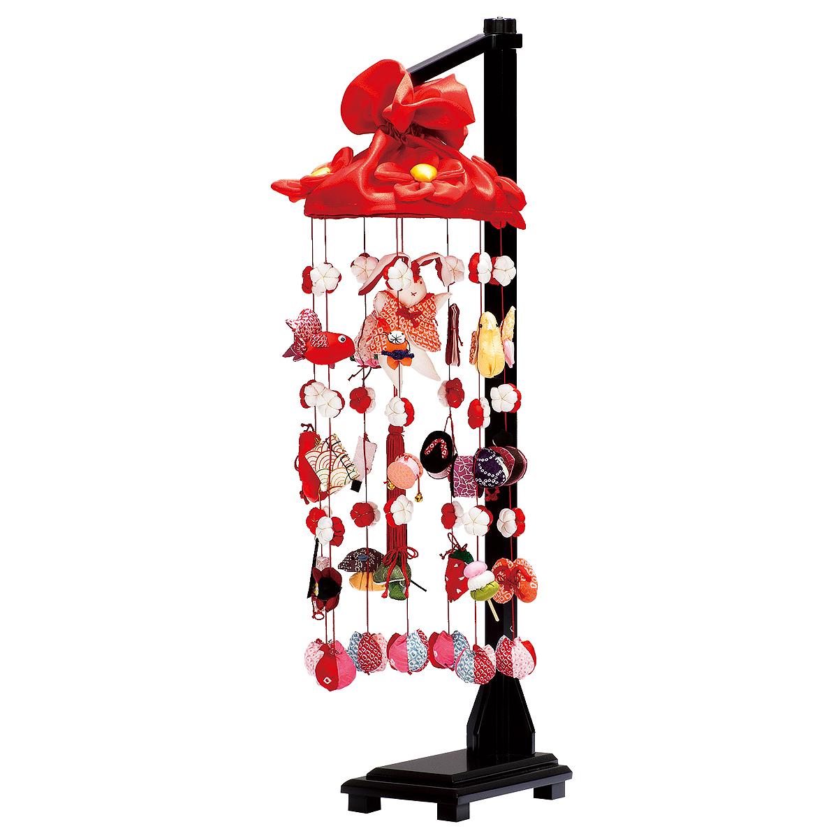 正絹雪輪兔(中) スタンド付 TRS-H-332373送料無料 ※北海道 沖縄は除く つるし雛 吊るし飾り で 桃の節句 雛祭り ひな祭り 雛人形 のお祝いに