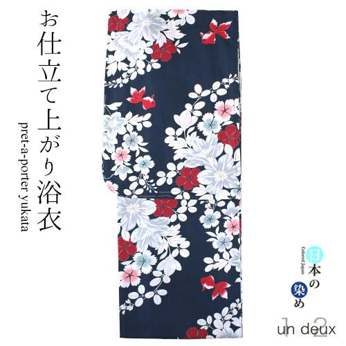 プレタ浴衣 un deux(アンドゥ) 衿がきれいに決まる衿芯付き 花 金魚 インディゴ