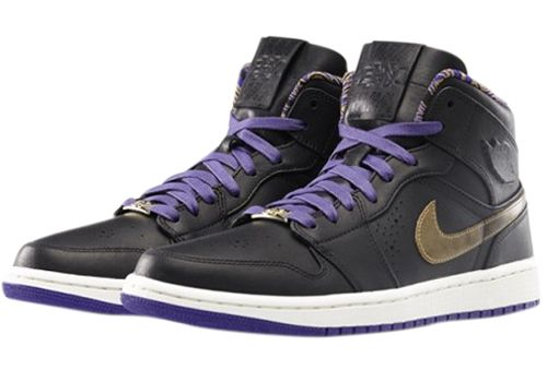 【送料無料】ナイキ エアジョーダン1MID NOUVEAU BHMBLACK/METALLIC GOLD-CRT PURPLE