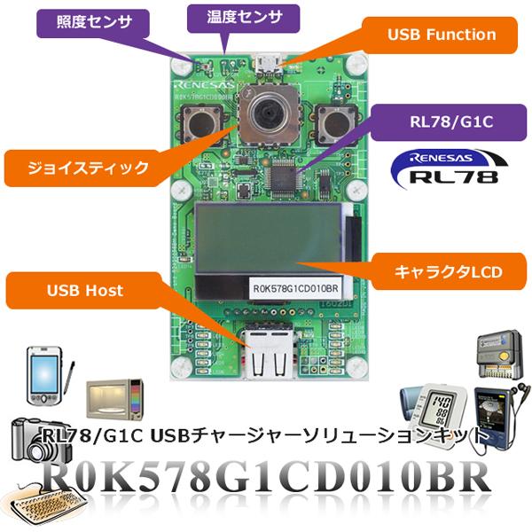 ルネサスエレクトロニクス RL78/G1C USBチャージャーソリューションキット 【R0K578G1CD010BR】