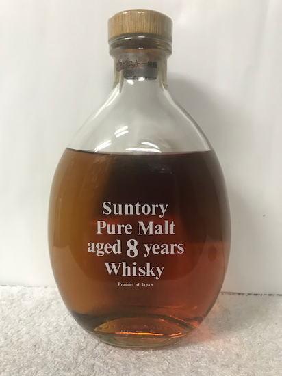 (30年程前1989年流通の特級・従価税 表記) 超希少・大古酒・レトロウイスキー サントリー ピュアモルト 8年 箱無