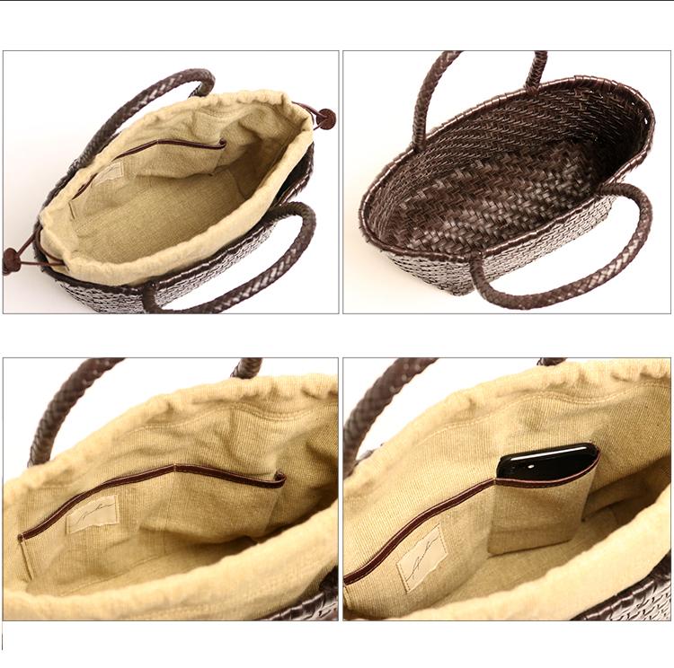 【ARUKAN】 kagomesh  ヤギ革で作ったカゴバッグ×帆布巾着。ふんわり軽いメッシュハンドバッグ S /革 本革 レザー