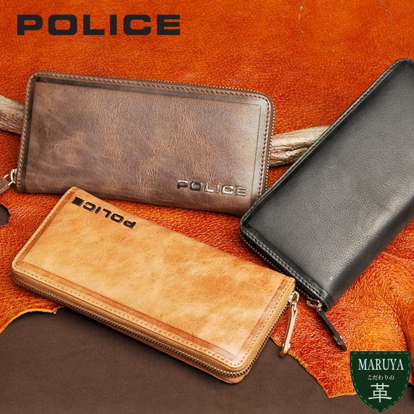 【POLICE/ポリス】 焦がし加工で色ムラ感をプラスしたソフトレザーラウンドファスナー長財布
