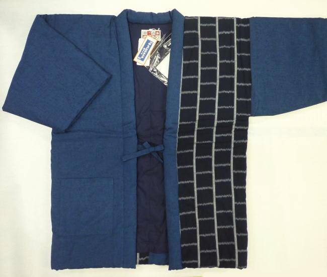 宮田織物 手造りはんてん〔半身絣袢天〕男物912X-9 ブルー