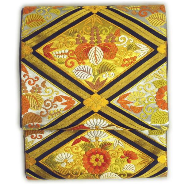 正絹袋帯 梅垣織物〔舞楽菱文〕