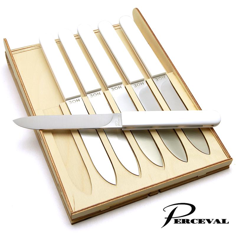テーブルナイフ「ノエ」6本セット(ホワイト)ペルスヴァルPerceval Noe-6 Table Knives