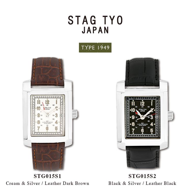 【送料無料】腕時計 メンズ GMT 二カ国表示 牛革ベルト ウォッチ スタッグ ティーワイオー STAG TYO STG015 日本製
