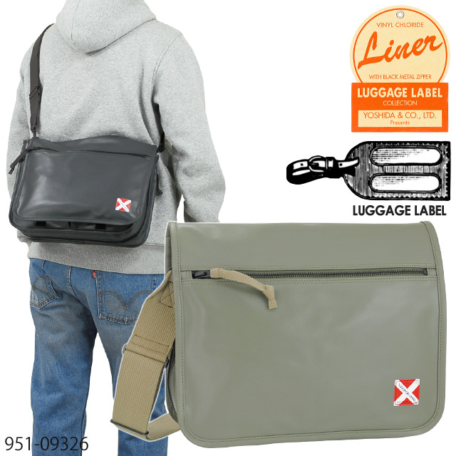 吉田カバン ラゲッジレーベル ライナー ショルダーバッグ 赤バッテン フラップ エキスパンダブル ブラック/カーキ LUGGAGE LABEL LINER 951-09236