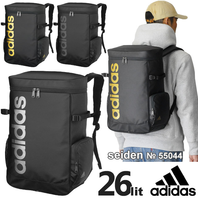 【SALE】 アディダス adidas リュックサック ボックス型 全3色 26リットル デカロゴ かわいい 通学 男子 女子 スクールバッグ スクバ 通学リュック 人気 55044