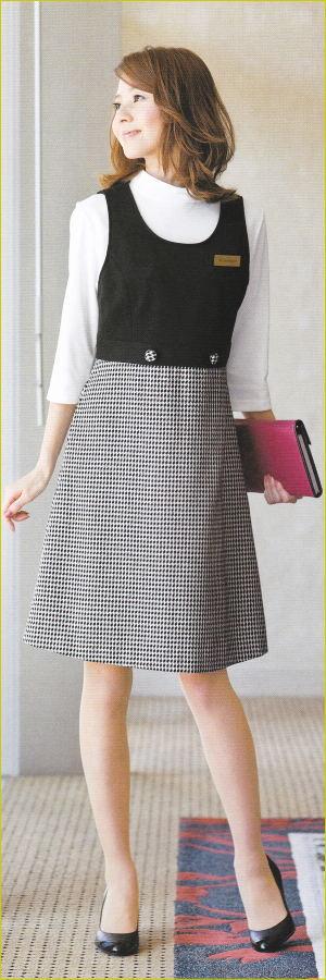 事務服 61460-2 アン ジョア 株式会社ジョア ワンピース ウエストジャンパースカート オールシーズン
