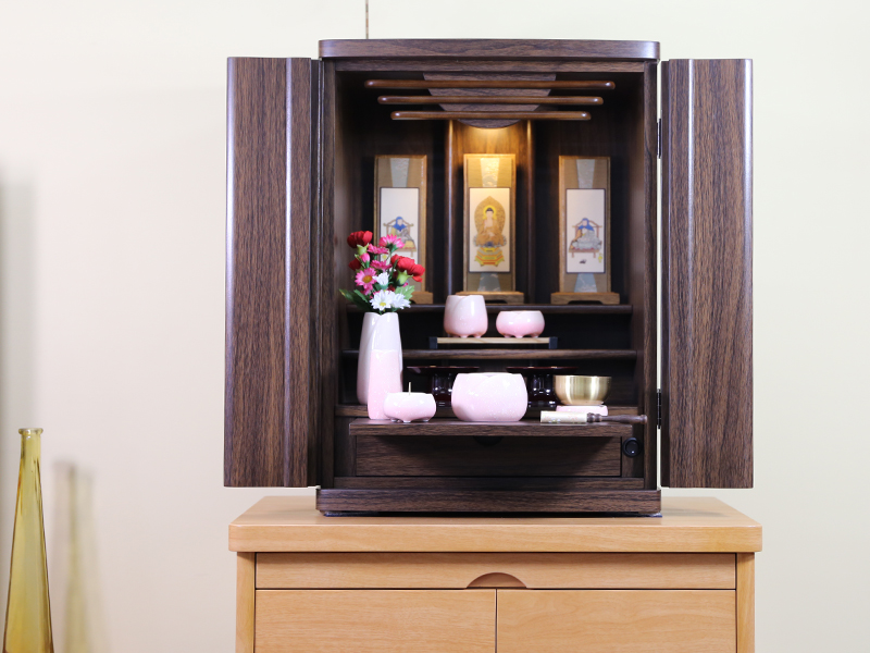 送料無料 贈与 ギフト プレゼント ご褒美 上置仏壇 仏具セット付 18号ウォールナット