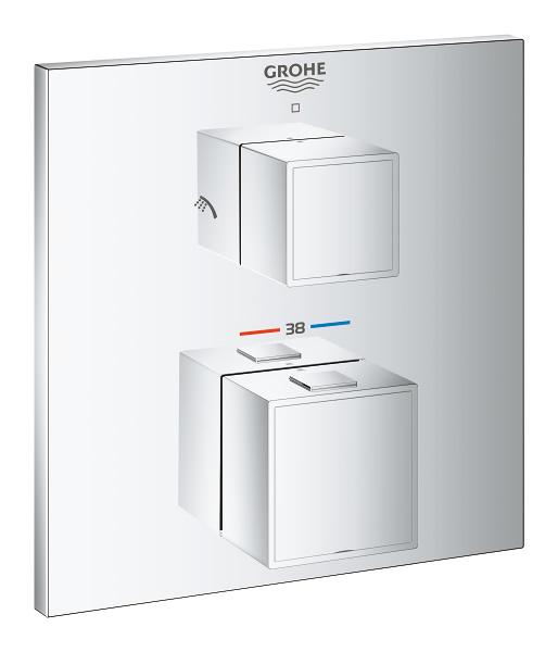【直送商品】GROHE[グローエ] 浴室用水栓 【24 154 00J】 グローサーモキューブ サーモスタットシャワー2方切替埋込混合栓 化粧部 [新品]【NP後払い不可】