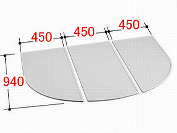 INAX/イナックス/LIXIL/リクシル 水まわり部品 組フタ[YFK-1494C(1)] フタ寸法:A:940MM、B:450MM 3枚組み 浴室 【YFK-1494C-1】[新品]