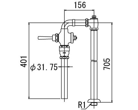 INAX トイレ フラッシュバルブ【CF-1114UTA】 低圧用 洗浄水量10-15L便器用 【CF1114UTA】 INAX・イナックス・LIXIL・リクシル[新品]