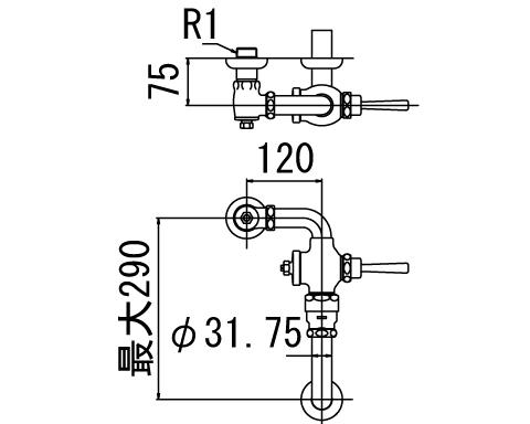 INAX トイレ フラッシュバルブ【CF-111KUT】 低圧用 洗浄水量10-15L便器用 【CF111KUT】 INAX・イナックス・LIXIL・リクシル[新品]