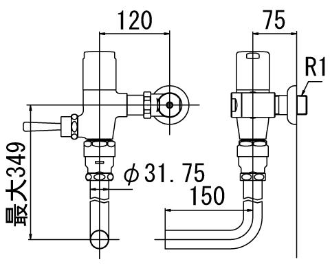 INAX トイレ フラッシュバルブ【CF-60UT-C】 低圧用 洗浄水量6-8L便器用(定流量弁付フラッシュバルブ) 中水用[納期4週間] 【CF60UTC】 INAX・イナックス・LIXIL・リクシル[新品]