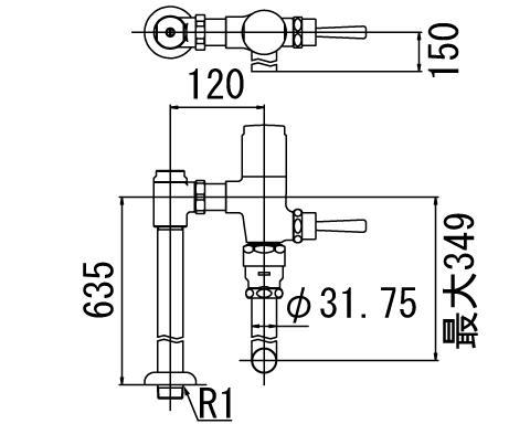 INAX トイレ フラッシュバルブ【CF-T63H-C】 寒冷地用 洗浄水量6-8L便器用(定流量弁付フラッシュバルブ) 中水用[納期4週間] 【CFT63HC】 INAX・イナックス・LIXIL・リクシル[新品]