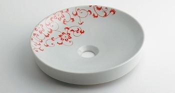カクダイ 丸型手洗器//サーモンピンク【493-097-P】【493097p】[新品]