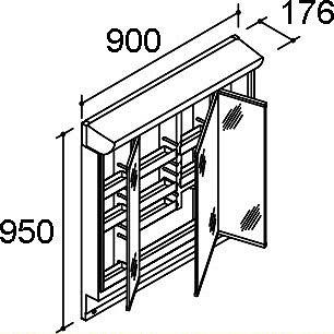 INAX・LIXIL ピアラ ミラーキャビネット【MAR2-903TXSU】 間口900mm LED照明 全高1,900mm用 くもり止めコート付 洗面化粧台 【メーカー直送のみ・代引き不可・NP後払い不可】[新品]