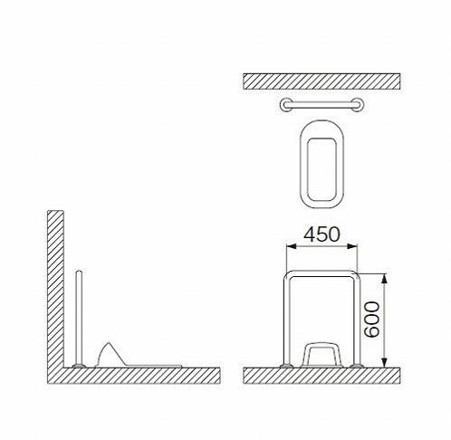ミヤコ MIYAKO MB120S和風トイレ手摺【MB120S】 寸法:32・34・38共通【メーカー直送のみ・代引き不可・NP後払い不可】[新品]