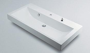 カクダイ 水道材料 角型洗面器【493-070-1000H (1ホール・ポップアップ穴付き)】[新品]