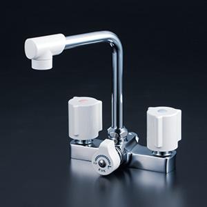KVK 【KM14E】 一時止水付2ハンドル混合栓 洗面用水栓 > 台付2ハンドル [新品]【NP後払いOK】