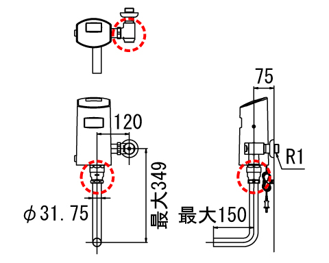 LIXIL リクシル 【OKC-T60S】 シリーズ名: オートフラッシュC 品名: オートフラッシュC センサー一体形(壁給水形)[新品]