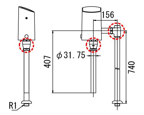 LIXIL リクシル 【OKC-T6115A】 シリーズ名: オートフラッシュC 品名: オートフラッシュC セパレート形 自動フラッシュバルブ(床給水形)[新品]