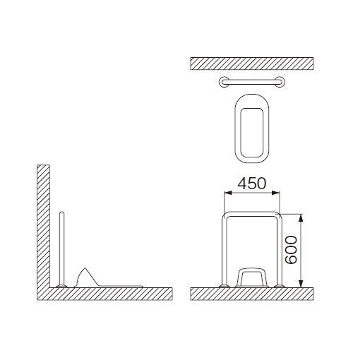 ミヤコ MIYAKO MB120S和風トイレ手摺【MB120S】寸法 32・34・38共通 トイレ配管部材【メーカー直送のみ・代引き不可・NP後払い不可】[新品]