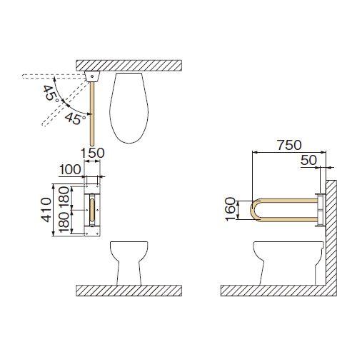 ミヤコ MIYAKO MB145H-LS可動式洋風トイレ被覆手摺 左【MB145H-LS】寸法 34共通 トイレ配管部材【メーカー直送のみ・代引き不可・NP後払い不可】[新品]