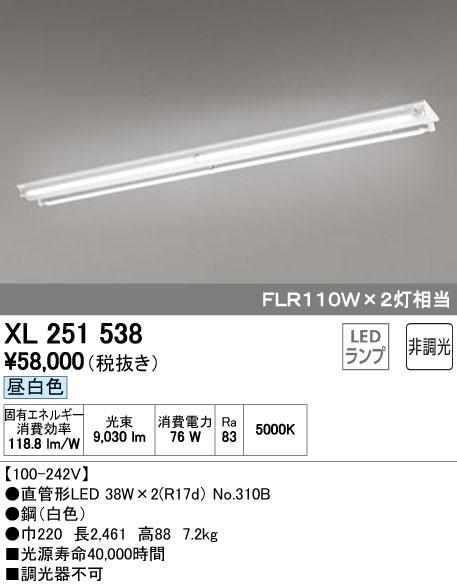 オーデリック 店舗施設用 ベースライト 【XL 251 538】XL251538[新品]
