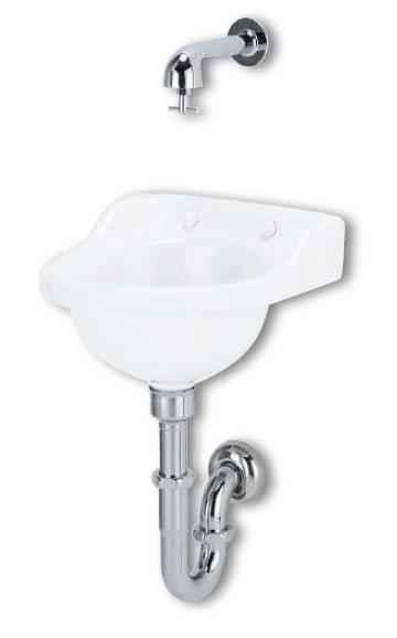 アサヒ衛陶 壁付 平付洗面器セット Pトラップ ホワイト色 L3PSET